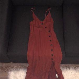 buttoned rustic orange summer maxi dress
